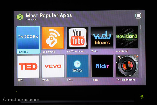 Boxee Apps screen